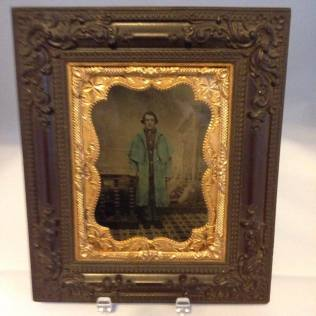 quarter-plate frame with an original tintype of union soldier